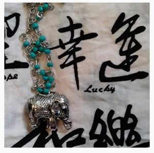 Silver Elephant Necklace with Turquoise Beads